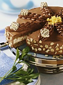 Chocolate mousse gateau with hazelnuts