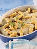 Polenta al forno (Polenta gratin with mozzarella & mince)