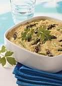 Baked risotto with green asparagus