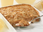 Mexican style fish pie with flamed almonds