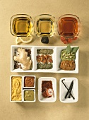 Various spices, oil and vinegar for luxury dishes