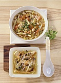 Minestrone and chicken soup with glass noodles & mushrooms