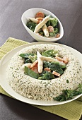 Rice ring with creamed vegetables