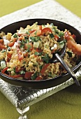Bulgur wheat salad with tomatoes, peppers and cucumber