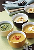 Various creamed vegetables soups