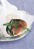 Wrap with rocket, smoked salmon and pine nuts
