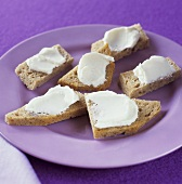 Small pieces of bread with soft cheese (for invalids)
