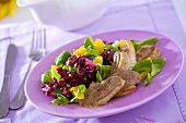 Duck breast with salad leaves and orange segments