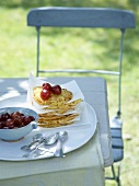 Pancakes with cherry compote