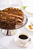 Coffee cake with amaretti, cup of coffee