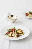 Asparagus with tomatoes and ricotta pancakes