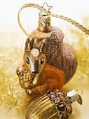 Christmas tree ornaments (squirrel, acorn)