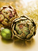 Christmas tree ornaments (artichokes and lime)