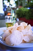 Prawn crackers on plate