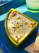Chick-pea puree with black sesame seeds