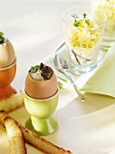Variations on the theme of eggs for breakfast (with truffle & with mushrooms)