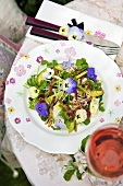 Spring salad with pansies