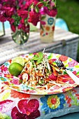 Vegetable salad with lime and peanuts for a picnic