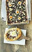 Onion and herb pizza and Turkish pide