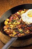 Farmer's breakfast in a frying pan
