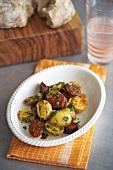 Potatoes with chorizo and parsley