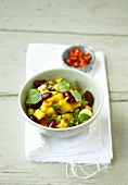 Bean and mango salad with mint