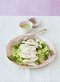 Cucumber carpaccio with ginger chicken and sesame seeds