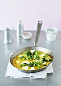 Broccoli curry omelette with soft cheese