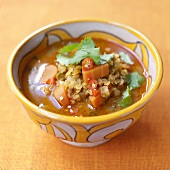 Vegetable soup with lentils and chilli