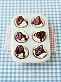 Angel cupcakes with plums