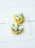 Sugar eggs in marzipan nests