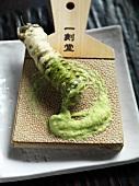 Wasabi root on sharkskin wasabi grater
