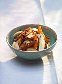 Grilled Hokkaido squash salad with strips of coconut