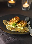 Chicken burgers on pear carpaccio with walnut vinaigrette