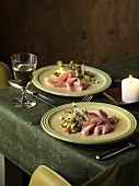 Mixed asparagus salad with boiled ham