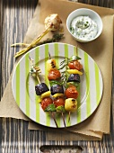 Mixed vegetable and potato kebabs with herb soft cheese