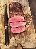 Barbecued beef fillet, partly sliced
