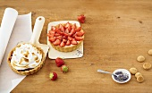 Cherry meringue tart & almond tart with elderflower mousse & strawberries