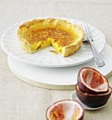 Passion fruit crème brûlée tart
