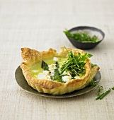Asparagus and goat's cheese puff pastry tart