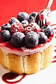 Berry cake with icing sugar