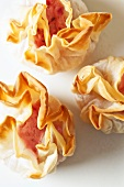 Goat's cheese and cranberry cream in filo pastry purses