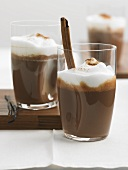Drinking chocolate with cinnamon and frothed milk