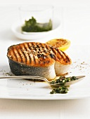 Barbecued salmon steak with pesto