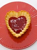 Heart-shaped raspberry tart