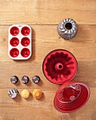 Various baking tins from above