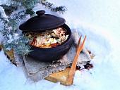 Potato, egg, cabbage and smoked ham casserole