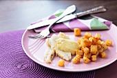Halibut with celeriac and leek cream