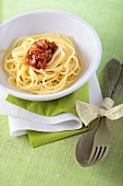 Spaghetti with tomato and anchovy sauce