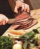 Carving roast beef